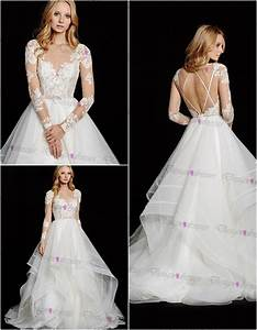 Lace chiffon long sleeve wedding dress wedding dresses on for Luulla wedding dresses