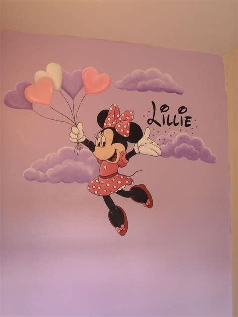 minnie mouse hand painted wall mural wwwcustommuralsco