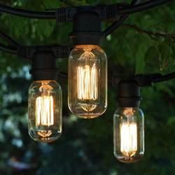 48 ft black commercial medium string light t14 vintage squirrel cage bulbs