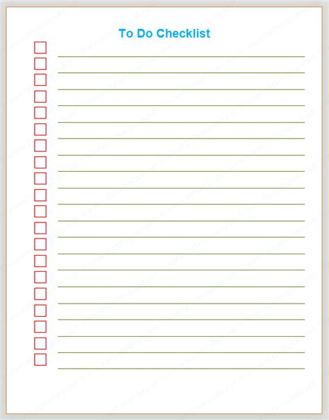 todo checklist things to do checklist template list templates