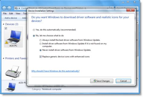 disable automatic driver installation in windows 10
