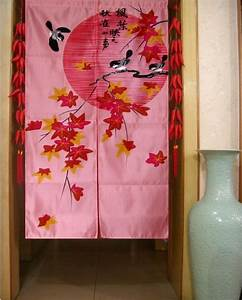 japanese maple leaf door curtain contemporary With fabric doorway curtains