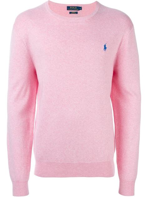 fuchsia sweater polo ralph crew neck sweater in pink for lyst