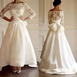 vintage off the shoulder wedding dresses a line 3 4 long With 3 4 sleeve off the shoulder lace wedding dress