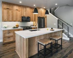 Contemporary, Kitchen, With, Natural, Wood, Cabinets, And, Island