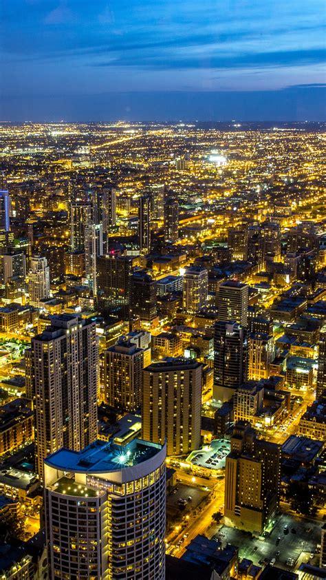 chicago  wallpaper illinois city skyline night cityscape blue sky night lights