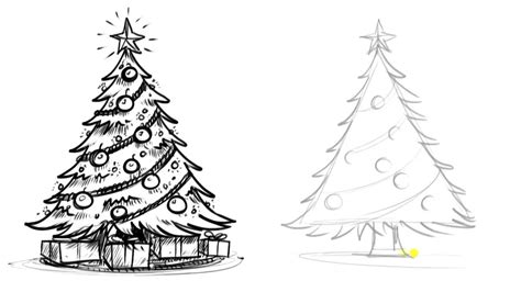 christmas tree drawing in pencil tree drawing ideas for inspirationseek