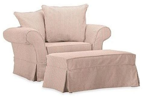 pottery barn chair and a half charleston chair and a half slipcover ticking stripe