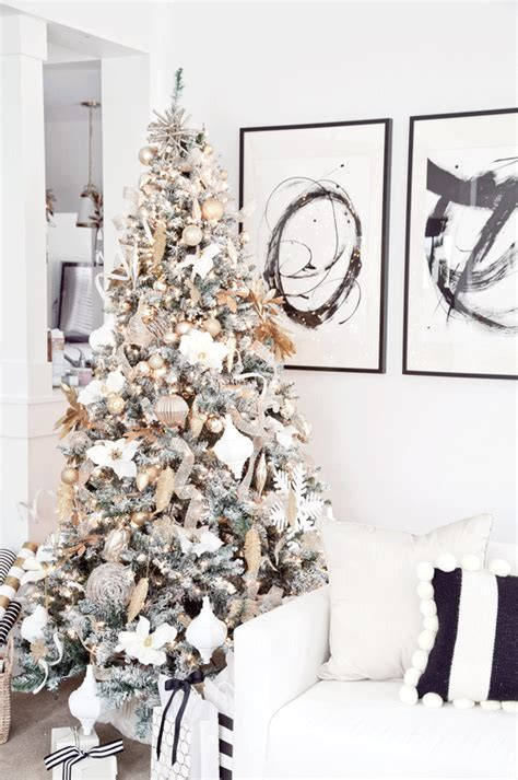 boxwood clippings gold  white christmas tree