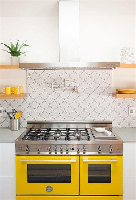 yellow backsplash kitchen fish scale tile backsplash design ideas 1206