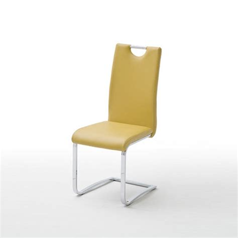 elly dining chair in curry faux leather with chrome legs