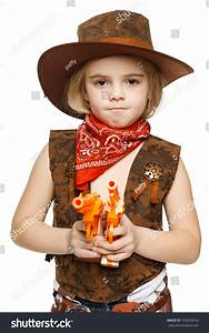 Angry Little Girl Wearing Cowboy Costume Holding Guns ...