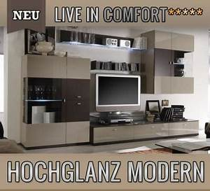 Moderne Wohnwand Hochglanz : neu moderne wohnwand montiert hochglanz sandgrau led schrankwand anbauwand ebay ~ Sanjose-hotels-ca.com Haus und Dekorationen