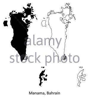 Detailed vector map of Bahrain and capital city Manama ...