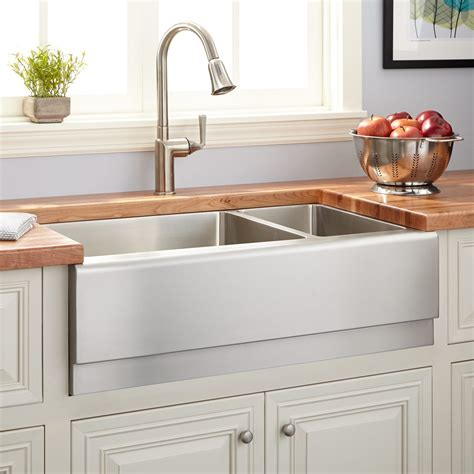 farm style kitchen sink 33 quot optimum 70 30 offset double bowl stainless steel