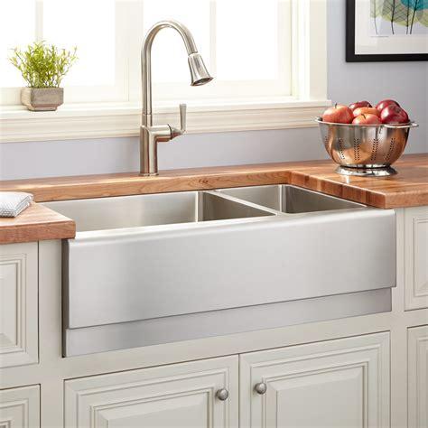 double basin farmhouse sink 33 quot optimum 70 30 offset double bowl stainless steel