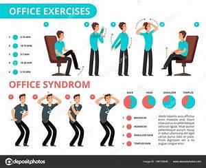 Employee Doing Office Exercises Desk  Medical Vector
