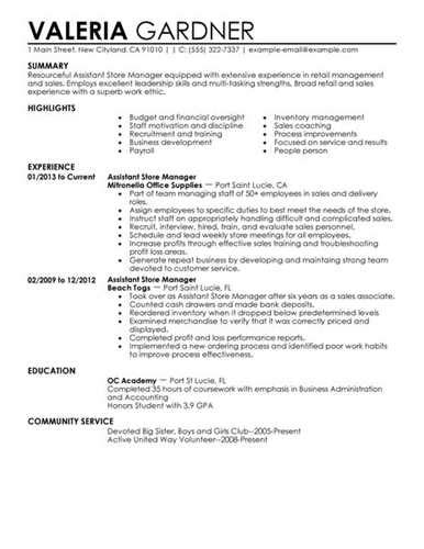 Resume Templates For Project Managers Retail Assistant Manager Resume Examples Related