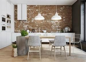 Deco Mur De Cuisine : la brique d corative pour l 39 int rieur quelques exemples ~ Zukunftsfamilie.com Idées de Décoration