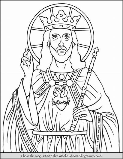 Christ Coloring King Catholic Pages Printable Drawing