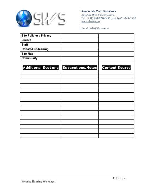 worksheets website planning worksheet opossumsoft