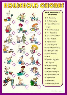 english esl chores worksheets  downloaded  results