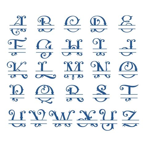 amber split monogram cuttable font