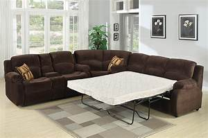Tracey recliner sleeper sectional sofa for Sectional sofa with bed and recliner