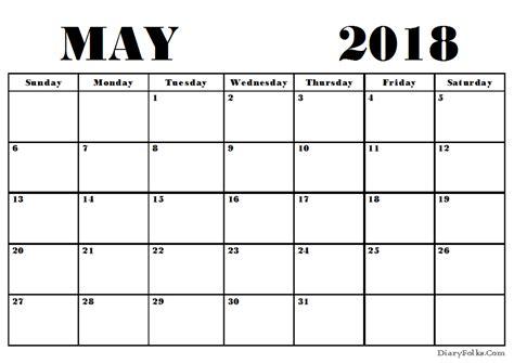 empty calendar may 2018 blank calendar printable
