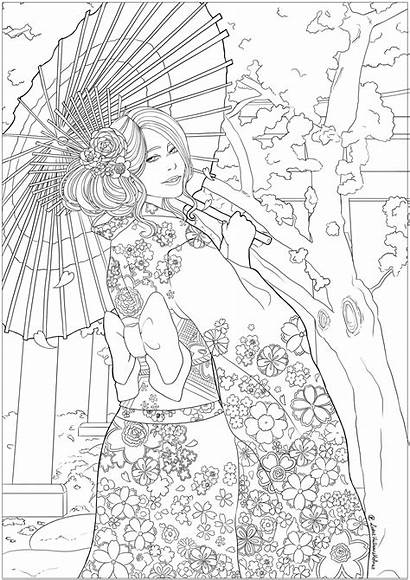 Woman Coloring Elegant Japanese Cherry Japan Hanami