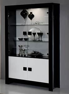Vitrine Blanc Laqué : vitrine pisa laquee bicolore noir blanc noir blanc ~ Teatrodelosmanantiales.com Idées de Décoration