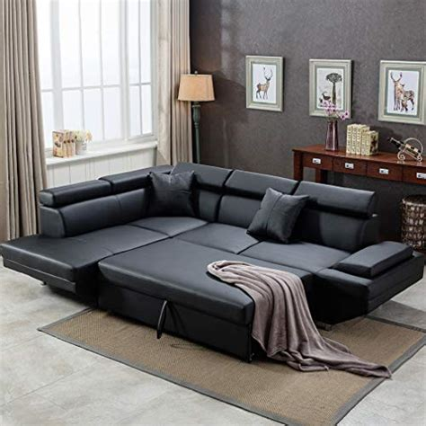 Leather Sleeper Sectional Sofa Bed by 2pc Sleeper Sectional Sofa R Black Faux Leather Corner