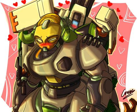 bastion and orisa overwatch drawn by cresc3 danbooru