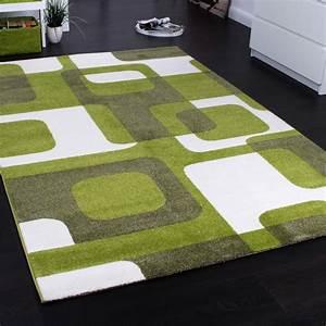 Teppich Blau Grün : designer teppich trendiger retro teppich kurzflor webteppich in gr n grau creme teppiche ~ Yasmunasinghe.com Haus und Dekorationen