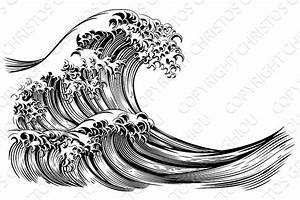 Great Wave Japanese Style Engraving ~ Illustrations ...