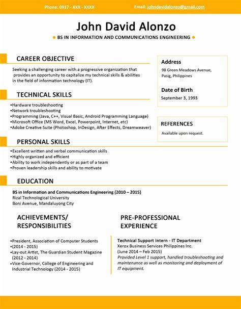 Professional Curriculum Vitae Format by 5 Jobstreet Resume Sle Free Sles Exles