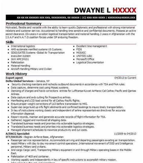 best air import export resume exle livecareer