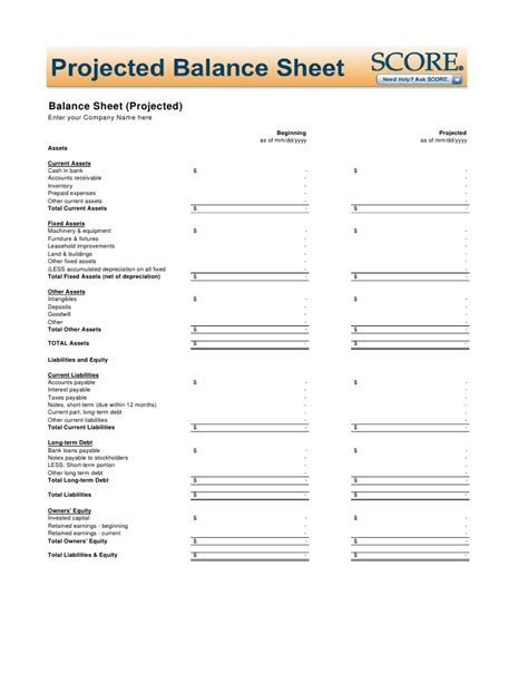 Year End Balance Sheet Template by Projected Balance Sheet Template
