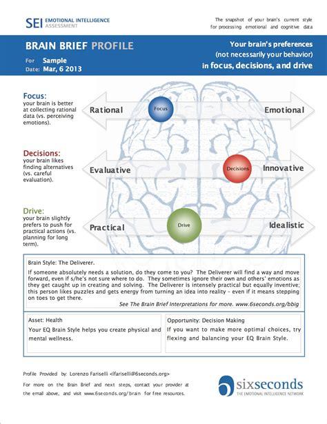 brain test italiano 1 page brain profiles emotional intelligence test