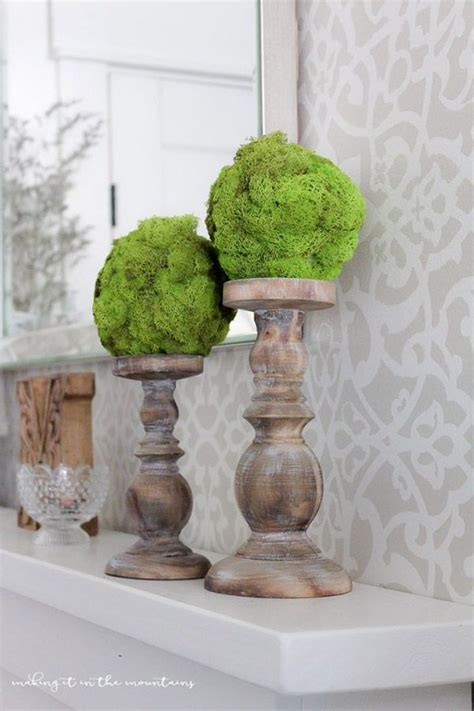 farmhouse mantel    diy moss topiary balls  shannon  aka designs