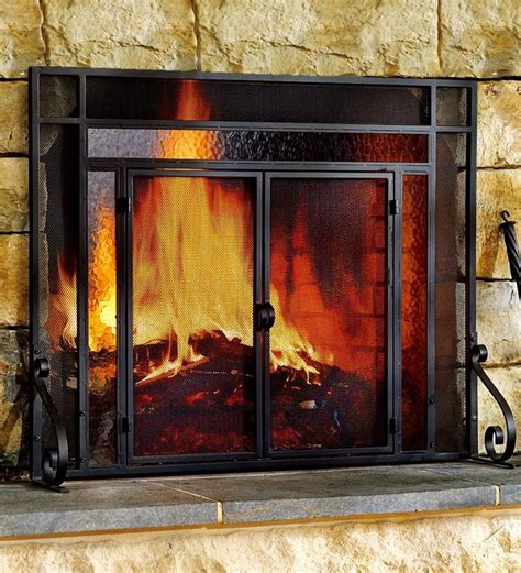door steel fireplace screen  tempered glass accents
