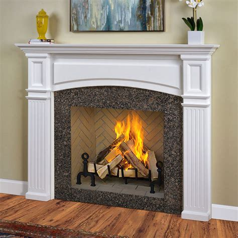 fireplace mantel surrounds monarch 54 in x 39 in wood fireplace mantel surround