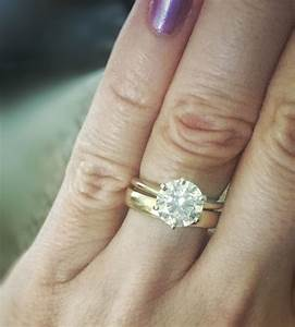 Thin engagement ring thick wedding band for Wedding rings to go with solitaire engagement ring