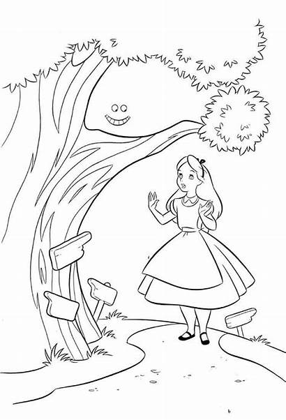 Coloring Cat Pages Cheshire Cartoon