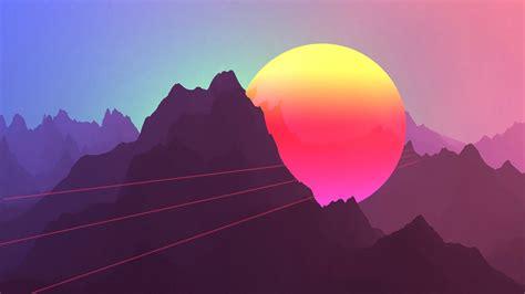 Neon Sunset Mountains 4k Wallpapers