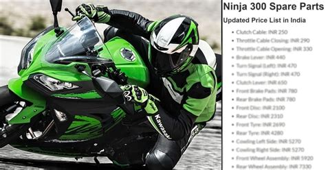 Kawasaki Ninja 300 Spare Parts Price List In India (2019