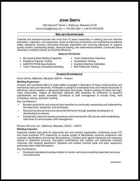 Shop Foreman Resume by Welding Supervisor Resume Exle Ipasphoto