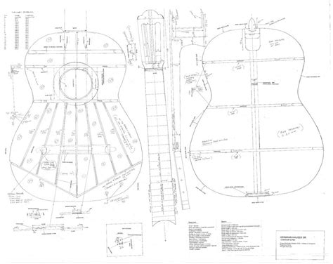 Hauser Classical Guitar Plans Full Scale Actual Size