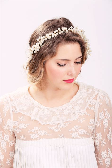 Pearl Hair Crown, Pearl Headpiece, Wedding Headband
