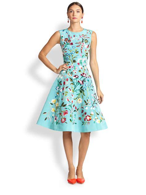 floral embroidered a line dress oscar de la renta embroidered floral a line dress in blue